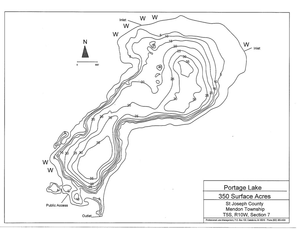 Portage Lake B&W Contour Map